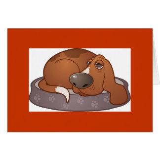 漫画のバセット犬の赤いボーダーカード カード