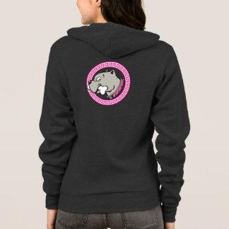 漫画のピットブルの頭部のピンクつば-女性フード付きスウェットシャツ パーカ