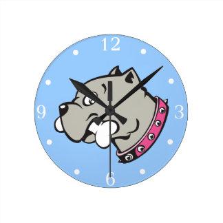 漫画のピットブルの頭部のピンクつば-柱時計 ラウンド壁時計