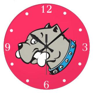漫画のピットブルの頭部のピンクつば-柱時計 ラージ壁時計