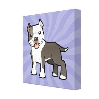 漫画のピットブル/アメリカ(犬)スタッフォードテリア キャンバスプリント