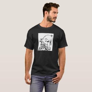 漫画のブタが付いている人のTシャツ Tシャツ