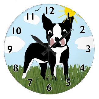 漫画のボストンテリアの時計 ラージ壁時計
