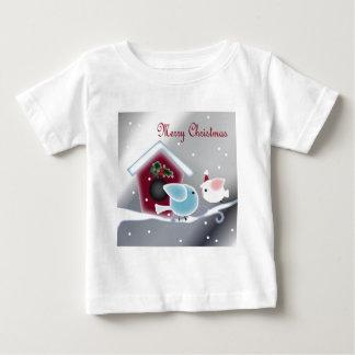 漫画のヤドリギ愛鳥私達の初めてのクリスマス ベビーTシャツ