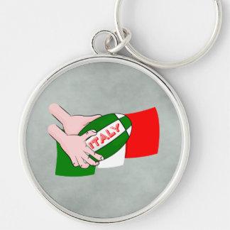 漫画のラグビーのボールが付いているイタリアの旗 キーホルダー