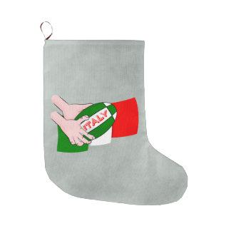 漫画のラグビーのボールが付いているイタリアの旗 ラージクリスマスストッキング