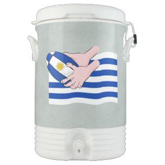 漫画のラグビーのボールが付いているウルグアイの旗 ドリンククーラー