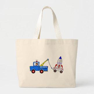漫画のレッカー車および運転者 ラージトートバッグ