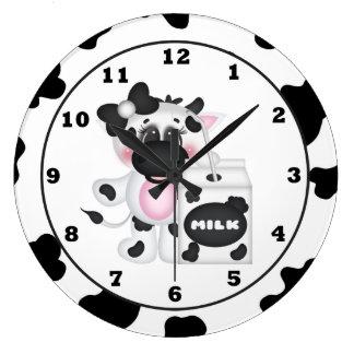 漫画の乳牛の柱時計 ラージ壁時計