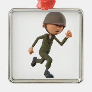漫画の兵士のランニング メタルオーナメント
