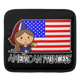 漫画の切り貼り芸術のかわいいアメリカのプリンセスの旗 iPadスリーブ