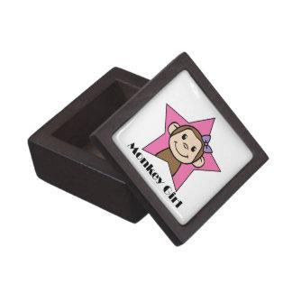 漫画の切り貼り芸術のスマイル猿の女の子のピンクの星の弓 ギフトボックス