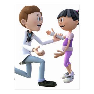 漫画の医者および患者 ポストカード