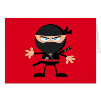 漫画の忍者の戦士の赤は感謝していしています カード