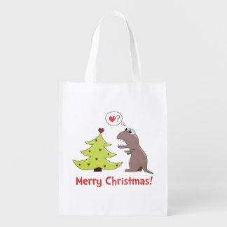 漫画の恐竜のメリークリスマス エコバッグ