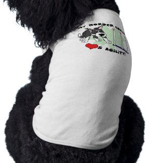 漫画の敏捷のボーダーコリー犬のTシャツ ペット服
