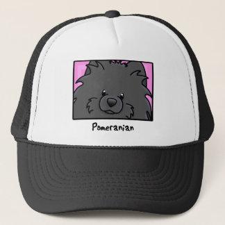漫画の正方形の黒いポメラニア犬 キャップ