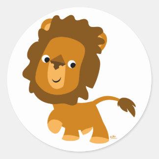 漫画の満足なライオンのステッカー ラウンドシール