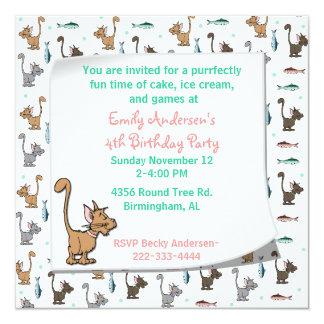 漫画の猫ちゃんの誕生日の招待状 カード