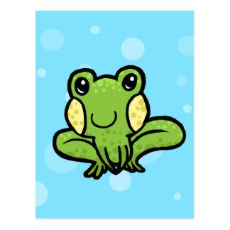 漫画の緑の斑入りのカエル ポストカード