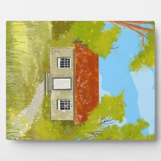漫画の緑の村の家のプラク フォトプラーク