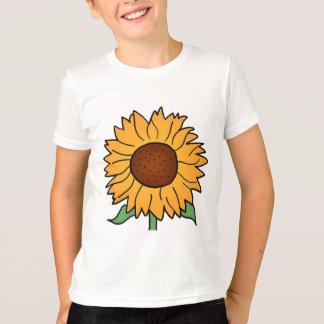漫画の花、夏の花柄のヒマワリ Tシャツ