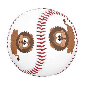 漫画の茶色の微笑の描かれたライオン 野球ボール