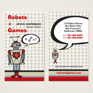 漫画の赤いレトロのロボットかわいい子供の男の子のプロフィールカード 名刺