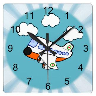 漫画の飛行機 スクエア壁時計