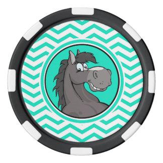 漫画の馬; 水緑のシェブロン ポーカーチップ