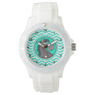 漫画の馬; 水緑のシェブロン 腕時計