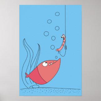 漫画の魚およびみみずの冗談ポスター ポスター