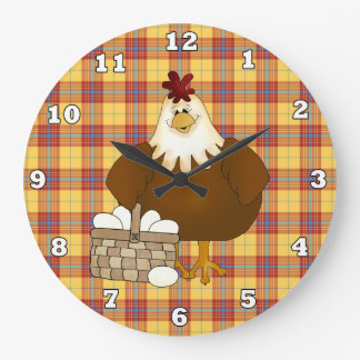漫画の鶏の台所柱時計 ラージ壁時計