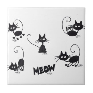 漫画の黒猫 正方形タイル小