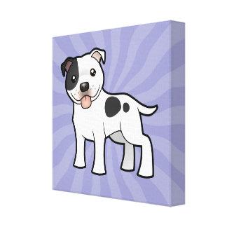 漫画の(犬)スタッフォードのブルテリア キャンバスプリント