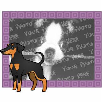 漫画の(犬)ドーベルマン・ピンシェル(だらしない耳) 写真彫刻マグネット