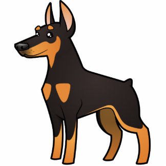 漫画の(犬)ドーベルマン・ピンシェル(とがった耳) 写真彫刻マグネット