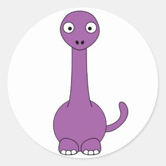 漫画のBrontosaurus (紫色) ラウンドシール