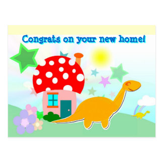 漫画のDinosのあなたの新しい家の郵便はがきのおめでとう ポストカード