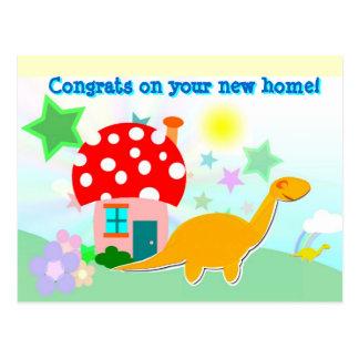 漫画のDinosのあなたの新しい家の郵便はがきのおめでとう 葉書き