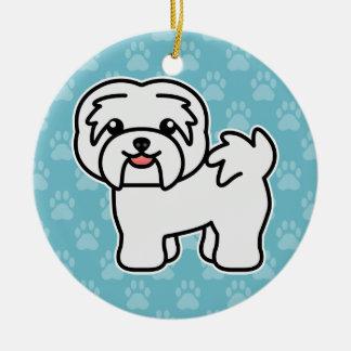 漫画のHavanese白い犬 セラミックオーナメント