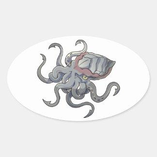 漫画のKraken灰色か灰色の神話上のモンスター 楕円形シール