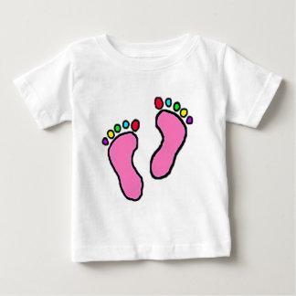 漫画カラフルな足の ベビーTシャツ