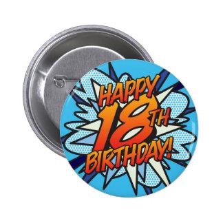 漫画本の幸せな第18誕生日の青 5.7CM 丸型バッジ