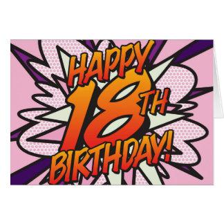漫画本の幸せな第18誕生日! ピンク グリーティングカード