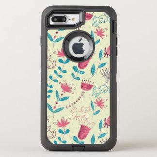 漫画猫が付いている花パターン オッターボックスディフェンダーiPhone 8 PLUS/7 PLUSケース
