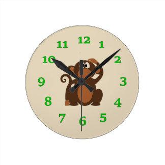 漫画猿 ラウンド壁時計