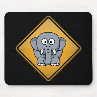 漫画象の警告標識 マウスパッド