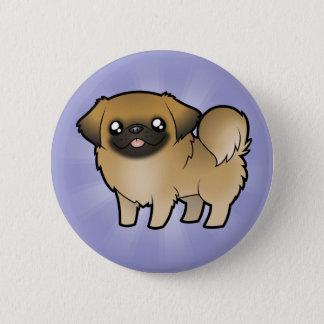 漫画Pekeingese (切られる子犬) 5.7cm 丸型バッジ
