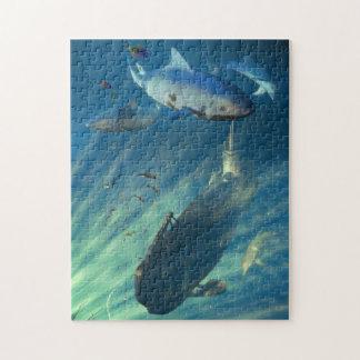 潜水艦および鮫のパズル ジグソーパズル